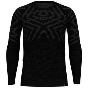 Odlo Vêtements intérieurs Natural +kinship Warm Suw Top - Black Melange - Taille S