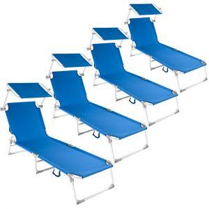 TecTake 4 Chaises longues, Transat, Bain de soleil, Pare Soleil, Pliables Aluminium 190 cm Bleu