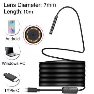 WeWoo Endoscope numérique USB-C / Type-C imperméable serpent caméra d inspection de tube avec 8 LED et adaptateur USB, longueur: 10m, diamètre de l objectif: 7mm