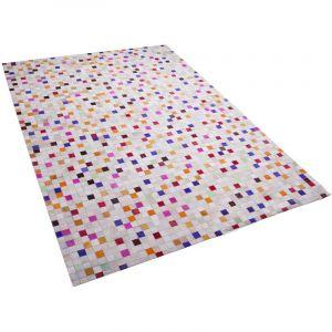 Beliani Tapis en cuir multicolore 140 x 200 cm ADVAN