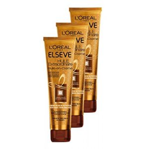 L'Oréal Elsève Huile-en-Crème de Nutrition sans Rinçage pour Cheveux Très Secs et Frisés 150 ml