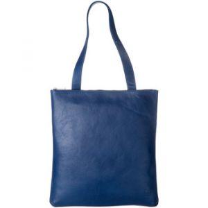 Dudu Sac Shopper à porter épaule pour femme en cuir véritable Grand et Spacieux avec fermeture éclair zip Bleu