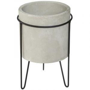 """Cache-Pot en Ciment sur Pied """"Oléa"""" 25cm Gris"""