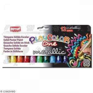 Instant Educa Gouache solide Playcolor en stick - Assortiment Metallic - 12 tubes