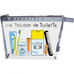 Incidence Paris 60062 Trousse de Toilette Krystal Ma Trousse de Toilette Transparent et Gris Fermeture Zip PVC et Nylon, 31 cm, Transparent