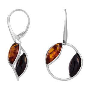 Cleor Boucles oreilles Pendantes en Argent 925/1000 et Ambre Orange Femme multicolor - Taille Unique
