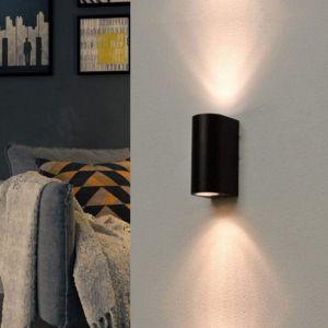 Silamp Applique Murale Noire LED IP44 double faisceau GU10