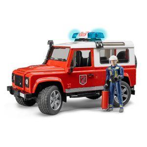 Bruder Toys 02596 - Véhicule Land Rover Defender Station avec pompier