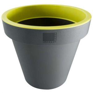 Provence Outillage Pot de fleurs rond Jaune / Gris Diamètre : 35 cm Hauteur : 31 cm - ECKEN KANTEN