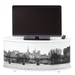 Meuble TV avec rideau imprimé Paris