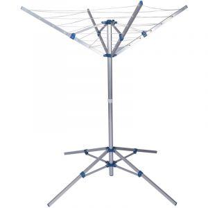 wiltec Mobile séchoir à linge rotatif aluminium corde à linge blanchisserie Pliable Réglable en hauteur