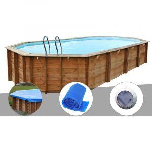 Sunbay Kit piscine bois Sevilla 8,72 x 4,72 x 1,46 m + Bâche hiver + Bâche à bulles + Spot