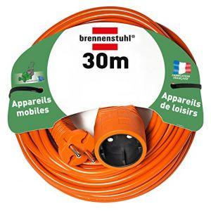 Brennenstuhl Rallonge orange 30m H05VV-F2x1.5 - 1 Prolongateur 2P 16A/230V~ - Puissance maxi sous 230V~ : 3500W