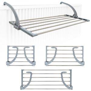 Eyepower Étendoir Séchoir à Linge Pliant 47x32x20,5cm à accrocher sur Le radiateur fenêtre Bain pour étendre sécher lessive vêtements mouillées Acier INOX