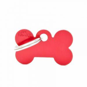 Myfamily Médaille basic petit os en alu rouge
