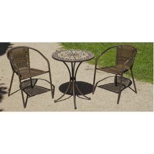 Hévéa Manila/Brasil - Table de jardin ronde 60 cm et 2 fauteuils