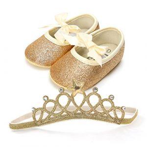 QinMM Chaussures de Bébé Ballerines + Couronne Brillant Princesse Paillettes Nœud Papillon Lacet, Fille Doux Sweet Mode Tout- Anti-Dérapante Flip-Flop Soirée Premiers