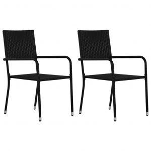 VidaXL Chaises de salle à manger d'extérieur 2 pcs Résine tressée Noir