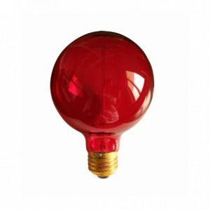 Ampoule décorative rétro Edison globe (D.9,5cm) rouge filament incandescent 40W (E27)