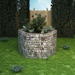 VidaXL Jardinière à gabion hexagonale 160 x 139 100 cm