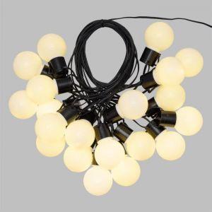 Lotti Guirlande lumineuse d'été LED - 10 m - Ø50 x H60 mm - Blanc chaud - 10 m - 20 ampoules G50 LED - Limière fixe - Transformateur 4.5 V - Câble noir - Ø50 x H60 mm - Blanc chaud