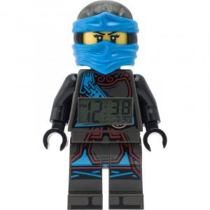 Lego Réveil figurine lumineux Nya de Ninjago Les Mains du Temps pour enfant | bleu/noir | plastique | hauteur de 24 cm | écran LCD | garçon/fille | produit officiel