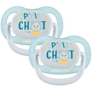 Bébé Confort 2 Sucettes Physio Air Confort Silicone 6/18 - Bleu & Jaune - P'tit Chat