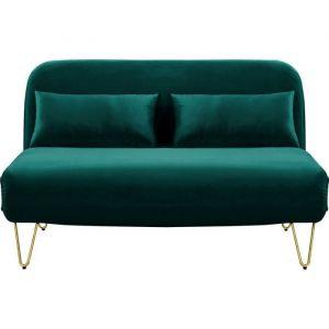 BEDZ Banquette BZ 2 places Velours vert Vintage L 132 x P 90 cm