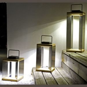 Lanterne Solaire TECK Inox SEL Les Jardins Metal Taille 1 Extérieur Détecteur de mouvement