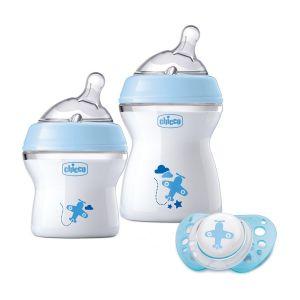Chicco Pack cadeau 2 Biberons NaturalFeeling + Tétine Physio Air Bleu