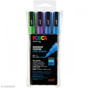 Posca PC3ML/4A ASS13 - Etui de 4 marqueurs peinture 3ML, pointe conique 0,9 à 1,3 mm, coloris froids pailletés