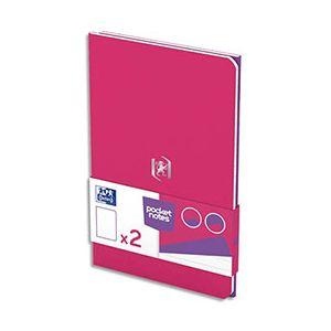 Oxford Pocket Notes agrafé - couverture carte - 9 x 14 cm - 48 pages - ligné 6 mm - fuschia et violet - lot de 2