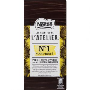 Nestlé Les Recettes de l'Atelier - Chocolat noir fruité N°1, 70% cacao, côte d'Ivoire Ghana Equateur - La tablette de 100g