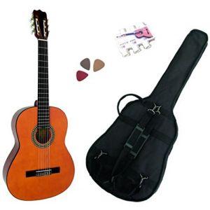 MSA Musikinstrumente Pack Guitare Classique 1/4 pour enfant (4-7ans) avec 3 accessoires (Nature)