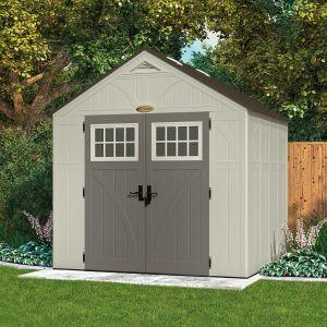 Suncast Woodgrain 5,53 m² - Abri de jardin résine haute qualité 5.53 m² + Plancher