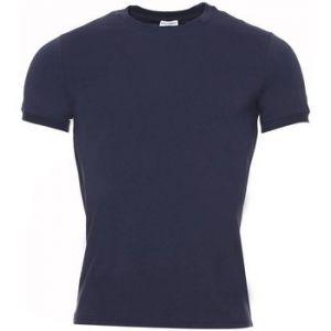 Dolce & Gabbana Tee-shirt col rond en coton stretch bleu marine