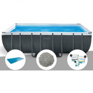 Intex Kit piscine tubulaire Ultra XTR Frame rectangulaire 5,49 x 2,74 x 1,32 m + Bâche à bulles + 20 kg de zéolite + Kit de traitement au chlore