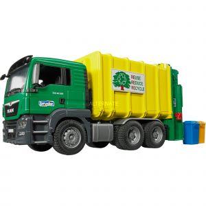 148a31f31b89ce Bruder Toys 03764 - Camion poubelle MAN TGS jaune et vert avec 2 poubelles
