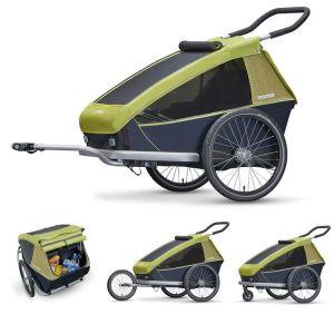 Croozer Kid for 2 - Remorque vélo - gris/vert Remorques pour enfant