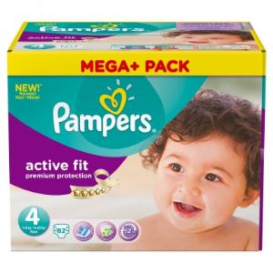 Pampers Active Fit taille 4 Maxi (7-18 kg) - Pack Méga Plus 82 couches