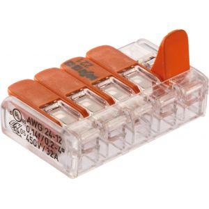 Wago Borne de raccordement 221-415/996-008 flexible 0.14-4 mm² rigide 0.2-4 mm² pôles 5 transparent, orange 8 pc(s)