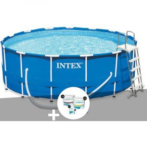 Intex Kit piscine tubulaire Metal Frame ronde 4,57 x 1,22 m + Kit de traitement au chlore