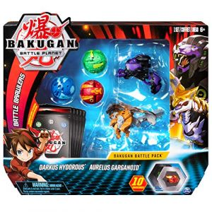 Bakugan Battle Pack - Darkus Hydorous/Aurelus Garganoid - 3 classiques + 2 Ultra, 10 BakuCore, 5 cartes Personnage, 5 cartes