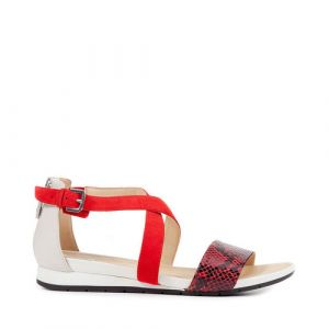 Geox Formosa A, Sandales Bout Ouvert Femme, Rouge (Scarlet/Off White), 35 EU