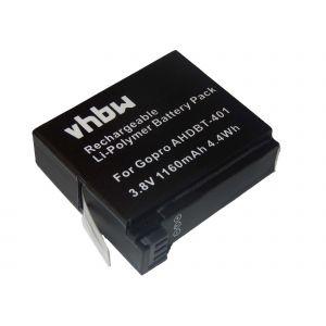 Image de Vhbw Batterie 1160mAh (3.8V) pour GoPro Hero 4 édition Black Silver Argent Surf Music comme AHDBT-401, 335-06532-000.