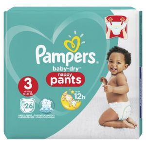 Pampers Baby-Dry Pants Taille 3, 6-11 kg, 26 Couches