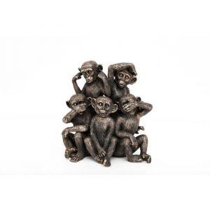 PM Groupe de 5 singes 23 x 24 cm Dorée