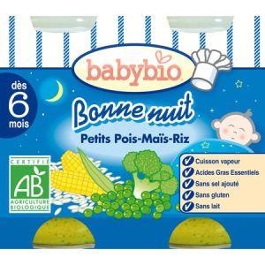 BabyBio Bonne Nuit : Petits pois-Maïs-Riz 2 x 200g - dès 6 mois