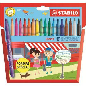 Stabilo Power F028153 - Pochette de 18 Feutres de coloriage assortis