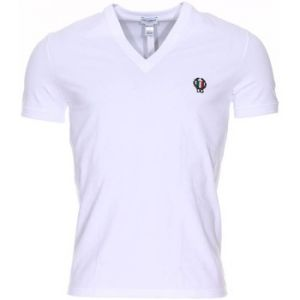 Dolce & Gabbana Tee shirt col V en coton stretch blanc